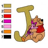 Winnie the Pooh Alphabet J Embroidery Design