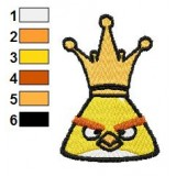 Yellow Angry Bird with Crown Embroidery Design