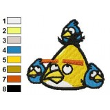 Yellow and Blue Birds Angry Birds Embroidery Design