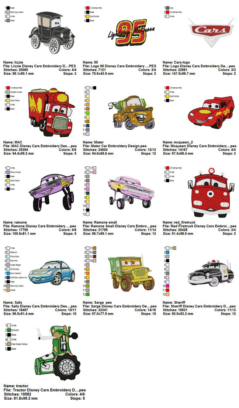 Disney Cars Christmas Clipart.Collection 13 Disney Cars Embroidery Designs 03