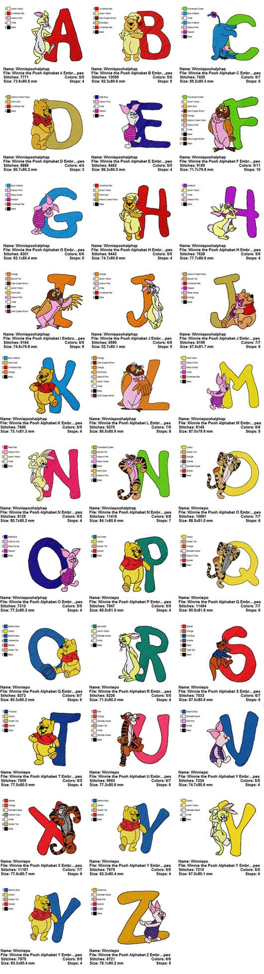 Winnie The Pooh Alphabets Embroidery Designs Collections